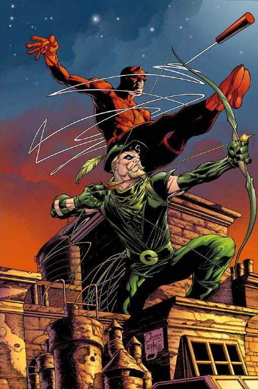This would make a nice crossover: Daredevil and Green Arrow By Joe Quesada #Comics #Illustration #Drawing