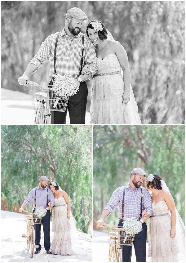Vintage wedding, vintage bike, suspenders, bride and groom, kokophotography.com.au