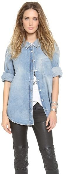 $425, Light Blue Denim Shirt: R 13 R13 Oversized Denim Shirt. Sold by shopbop.com. Click for more info: https://lookastic.com/women/shop_items/4149/redirect