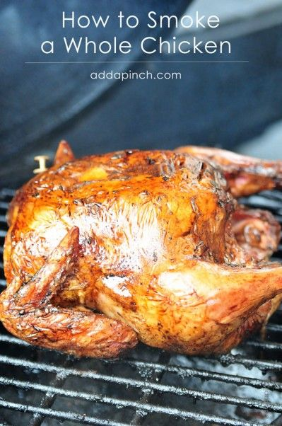 My husband makes the most amazing smoked chicken. It is fabulous and something I never get tired of eating! So, I thought I'd ask him to share his tips on how to smoke a whole chicken. Take it away, sweetie!   Smoking a whole chicken is about as easy as it comes. There are only a few things