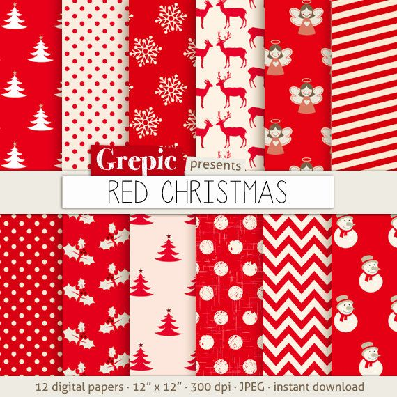 Christmas digital paper RED CHRISTMAS with christmas by Grepic