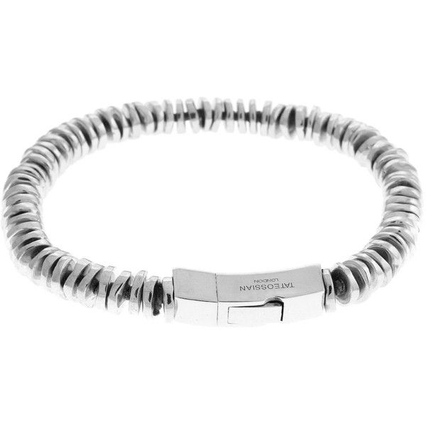 Tateossian Men's Sterling Silver Disc Bead Bracelet ($950) ❤ liked on Polyvore featuring men's fashion, men's jewelry, men's bracelets, grey, mens watches jewelry, mens bracelets, mens bead bracelets, mens sterling silver bracelets and mens engraved bracelets