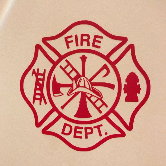 Fire Department Decal  2inches-- $3.00 3inches-- add $0.50 4inches-- add $1.00 5inches-- add $1.50 6inches-- add $2.00   Vinyl decals are perfect for your phone, car bumper or window, laptop, cup (yeti, plastic tumbler, etc.), anything you can think of. The Decal size listed is the height, the width will be proportionate.  The Decal will come with transfer tape for easy application. Instructions on application and care are included with the order.