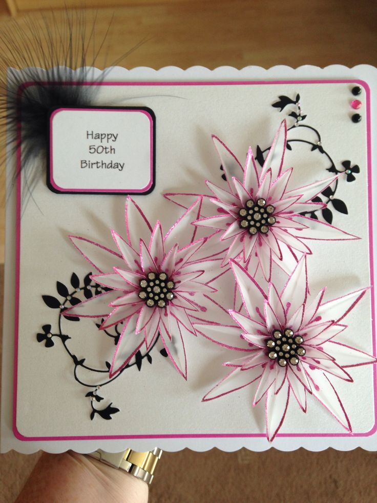 Happy 50th using 'stamps by chloe' flower stamps