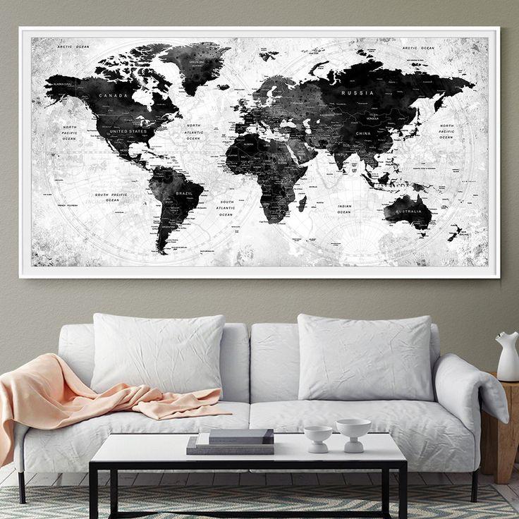 GRANDE città acquerello mappa mondo Push Pin viaggi muro nero