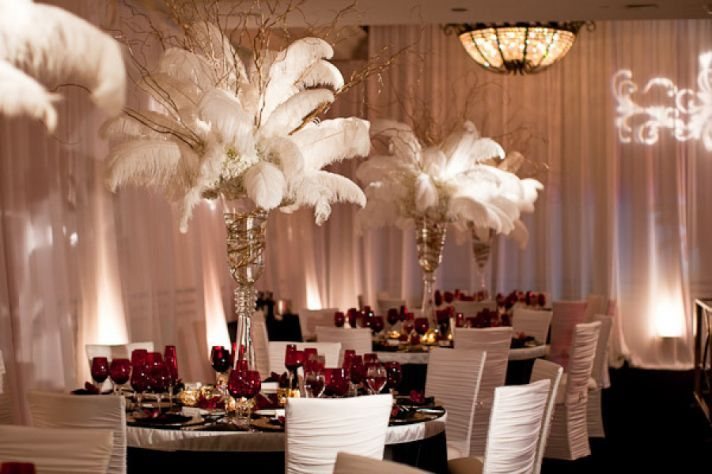 leather wallet white feather wedding topiary centerpieces for old hollywood themes