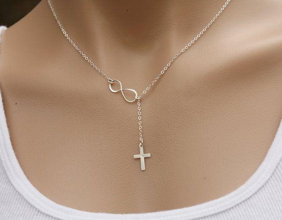 Sterling silver Sideways infinity cross by tyrahandmadejewelry
