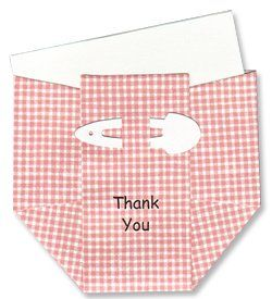 Baby Thank-you Cards - Pink Rose Gingham Diapers unique, hand-crafted cards. thank-you note slips into diaper card. 10 cards and envelopes included.  #My_Baby_Party #Office_Product