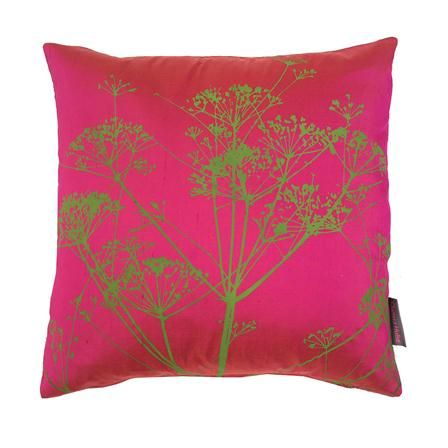 Cowparsley Silk Cushion, Hot Pink & Moss