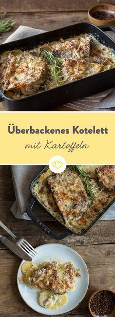 Weil sich Kotelett und Kartoffeln so gut verstehen, dürfen sie auch zusammen im Backofen schwitzen. Besonders kuschelig wird's dank schmelzender Käsedecke.
