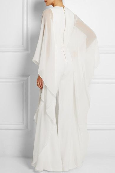 White silk-chiffon and stretch-crepe Hook and zip fastening at back Fabric1: 56% silk, 28% viscose, 15% acetate, 1% elastane; fabric2: 100% silk Dry clean Designer color: White Gardenia