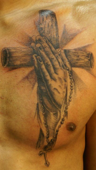 3d Hands Praying With Rosary Tattoo Images For Men And
