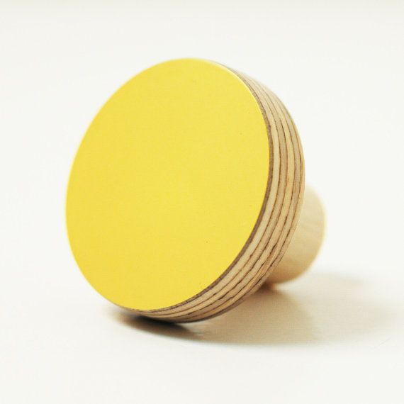 Wooden knobs yellow color by chocolatecreative on Etsy, £9.00