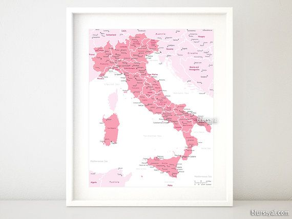 "16x20"" Printable map of Italy, Italy map with cities, Italia map, Italy map, light pink nursery, baby girl nursery map print - map054 006"