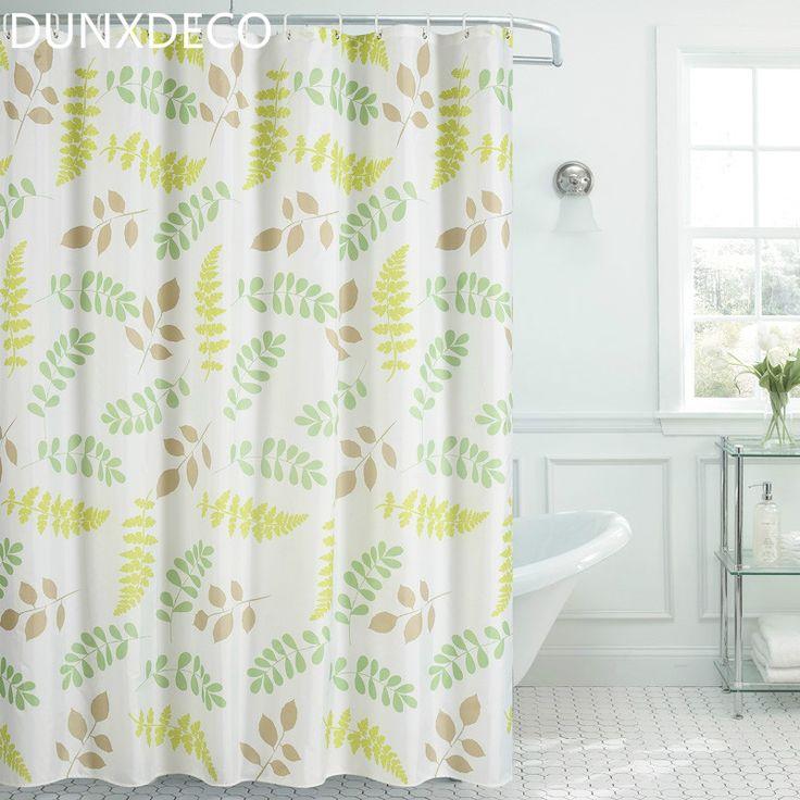 DUNXDECO 1 PC Noridc Amarelo Folhas Verdes Cortina de Poliéster Cortina de Chuveiro Do Banheiro À Prova D' Água Decoração Da Casa em Cortinas de chuveiro de Home & Garden no AliExpress.com | Alibaba Group