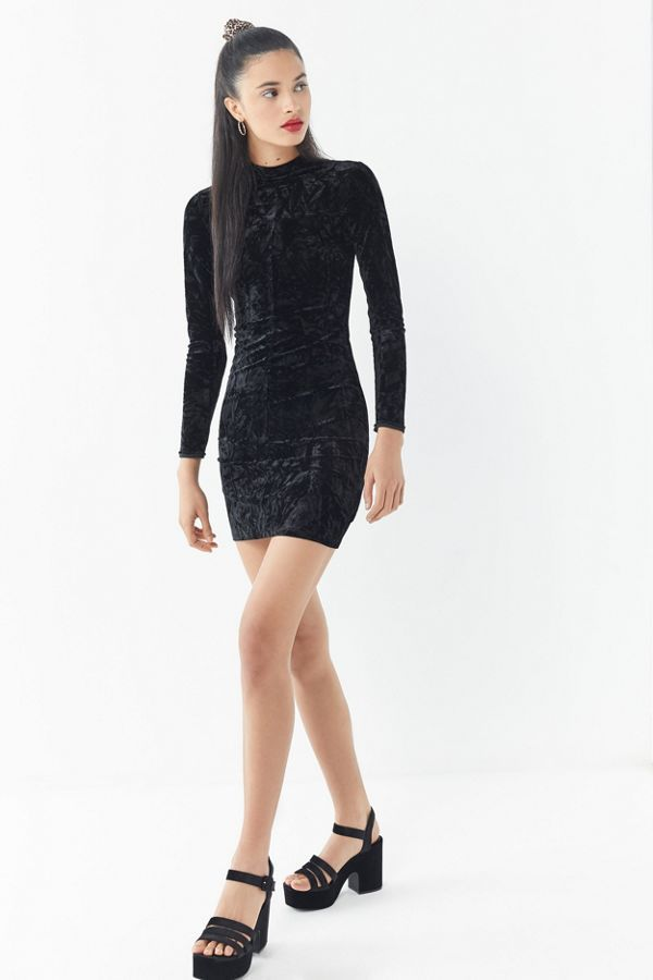 92a125228516 UO Ice Crusher Mock-Neck Mini Dress -  59  theradicalblog  dresses  velvet   velvetdresses  partydreses