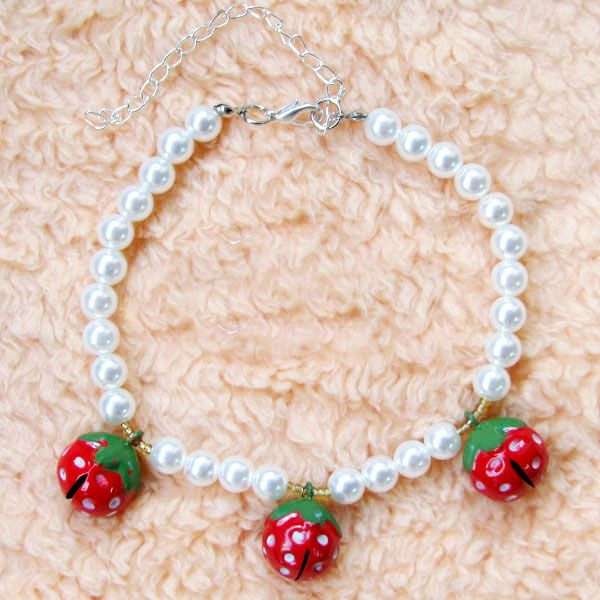 Small strawberry necklace pearl necklace dog necklace dog bell pet necklace dog collar #Affiliate