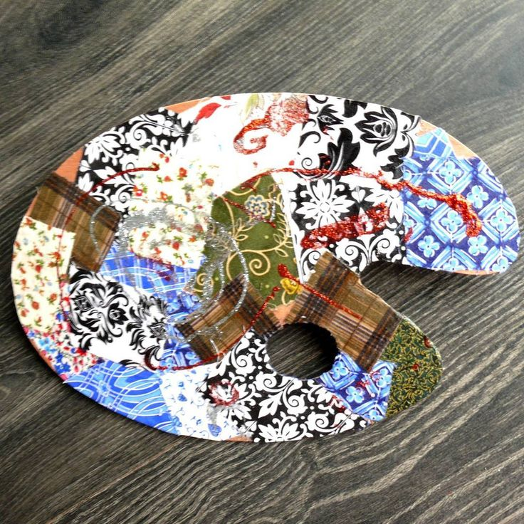 Decoupage by using textile squares