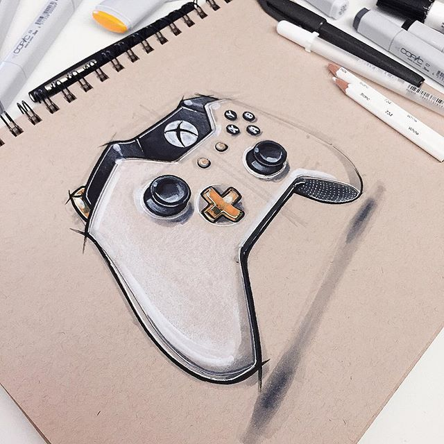 Xbox One special edition Lunar white wireless controller. Beautiful product. @Xbox #xbox #xboxone #xboxcontroller #idsketch #idsketching #sketch #sketching #sketchbook #ID #industrialdesign #productdesign #desin #drawing #art #instaart