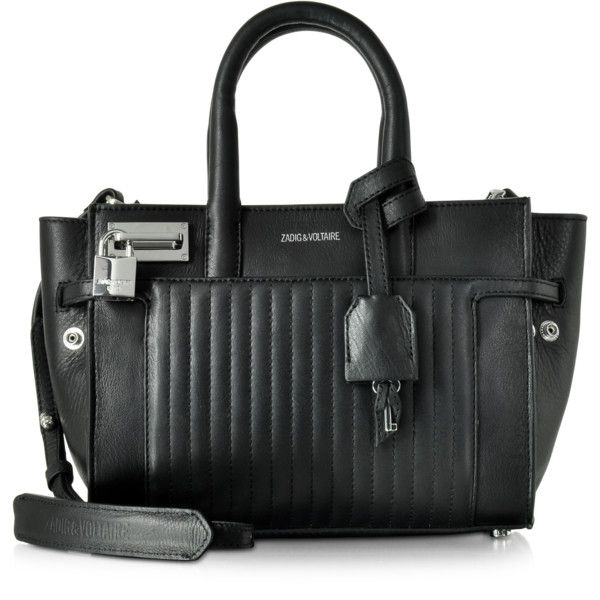 Zadig & Voltaire Handbags XS Candide Black Leather Satchel Bag (15,695 DOP) ❤ liked on Polyvore featuring bags, handbags, leather man bags, leather handbags, genuine leather purse, handbag purse and satchel purses