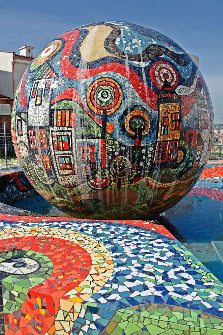 A fountain with mosaic decorations, at the Sunny Hill - by Agi Kons Art, Tirana - Albania