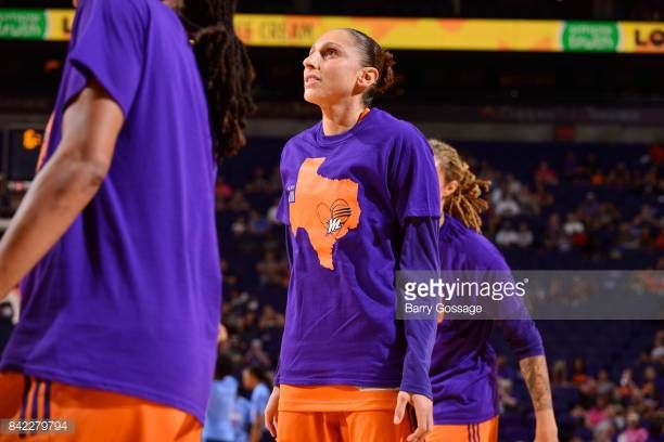 Diana Taurasi of the Phoenix Mercury looks on before the game against the Atlanta Dream on September 3 2017 at Talking Stick Resort Arena in Phoenix...