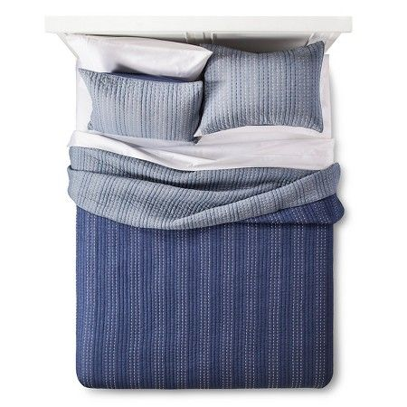 Pick Stitch Quilt Set (Queen) Navy&Chambray 3pc - The Industrial Shop™…