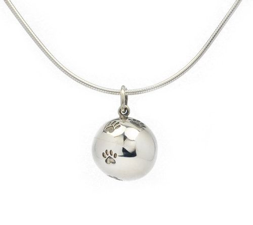 Handmade silver pendant in form a ball with 4 small 3 mm heart pawprints. Parts of the income go directly to selected shelters for homeless cats.  Size: 14 mm diameter Weight: 5 gr.