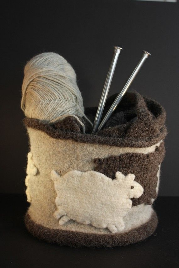 boiled wool felt tote bag with frolicking sheep - great use of shrunken wool sweaters
