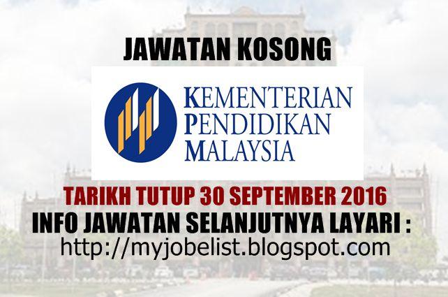 Jawatan Kosong di Kementerian Pendidikan Malaysia (MOE) - 30 September 2016  Jawatan kosong kerajaan terkini di Kementerian Pendidikan Malaysia (MOE) September 2016. Permohonan adalah dipelawa daripada warganegara Malaysia yang berumur tidak kurang daripada 18 tahun keatas pada tarikh tutup iklan jawatan dan berkelayakan untuk mengisi kekosongan jawatan kosong terkini di Kementerian Pendidikan Malaysia (MOE) sebagai:1. Pekerja Sambilan Harian (Pegawai Teknologi Maklumat) Kelayakan  a…