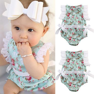 >> Click to Buy << 2016 Baby Girl Lace Floral Bodysuit Outfits 0-24M Toddler Kids Infant Summer Clothes Sunsuit Clothes #Affiliate