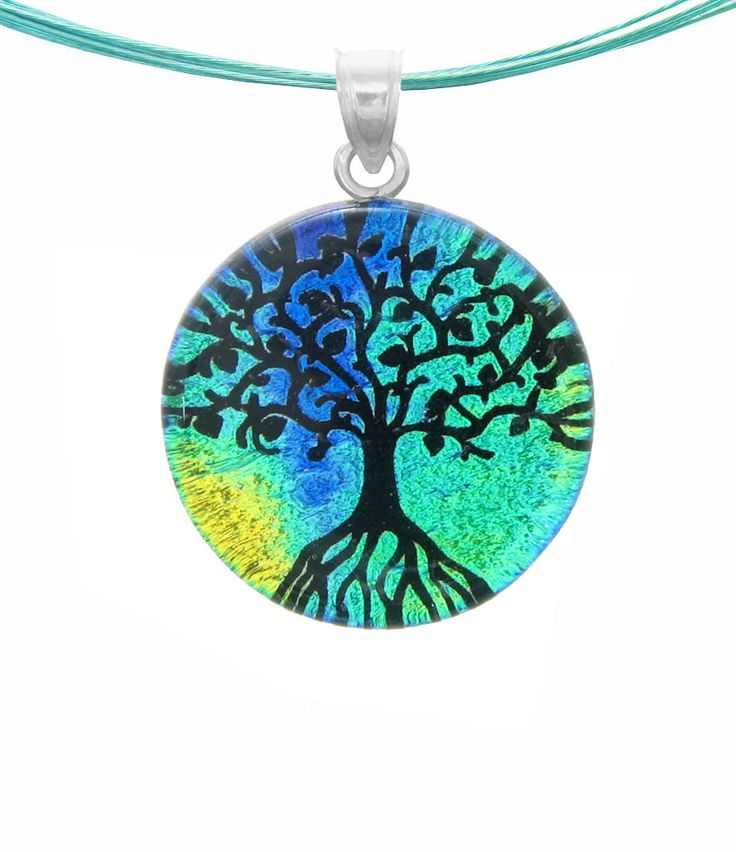 Dichroic Glass Tree of Life Pendant with Silver Bail