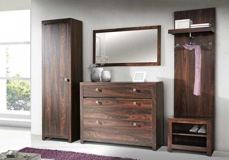 Komplett - Garderobe Irma II Möbel  im Kolonialstil gehen nie aus der Mode. Die dunklen warmen Farben passen perfekt in das  moderne Interieur. Set bestehend aus: 1 x Garderoben - Schuhschrank mit 1...