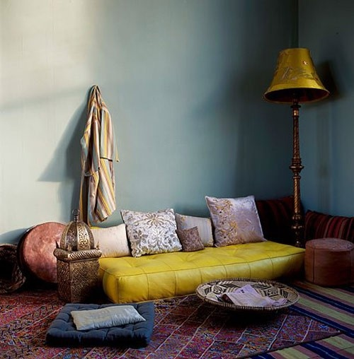 way to make a meditation room- stack a kabillion comfy cushions that can be pulled out as needed!