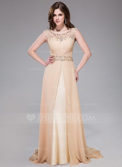 Evening Dresses - $158.99 - A-Line/Princess Scoop Neck Sweep Train Chiffon Lace Evening Dress With Ruffle Beading Sequins (017041158) http://jjshouse.com/A-Line-Princess-Scoop-Neck-Sweep-Train-Chiffon-Lace-Evening-Dress-With-Ruffle-Beading-Sequins-017041158-g41158?no_banner=1&utm_source=facebook&utm_medium=post&utm_campaign=6005941673279&utm_content=140224_23