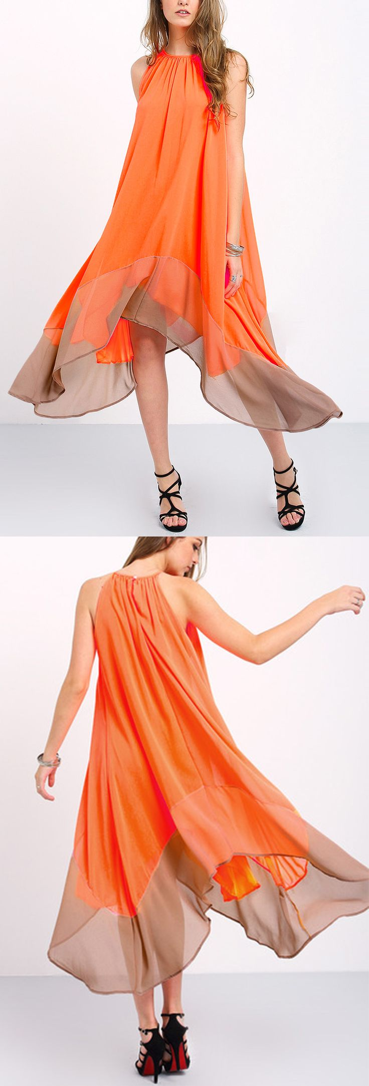 Sweet orange floral dress for summer. Maxi beach style with tent shift Silhouette, special ink color-block give a fluid beauty. Colour-block Loose Tent Dress by shein