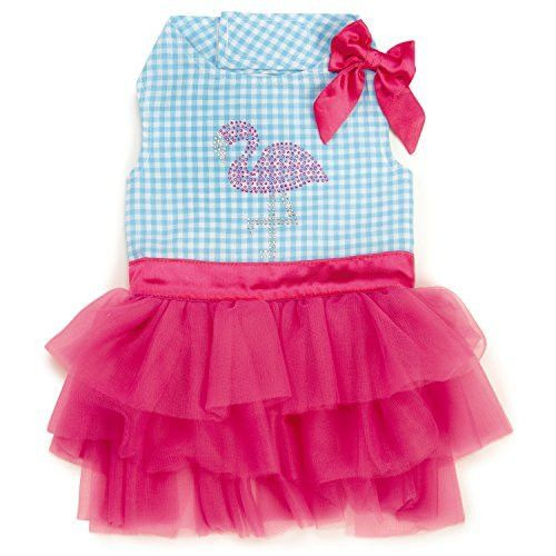Zack & Zoey Sequin Flamingo Dress for Dogs, X-Small, Pink/Blue