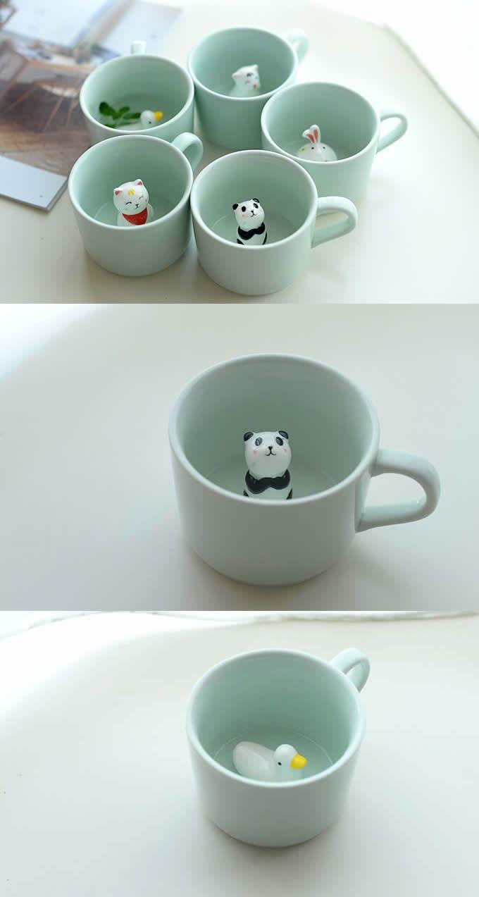 3D Cute Cartoon Animal Figurine Ceramics Coffee Cup