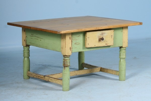 Antique Painted Green Coffee Table Pine Top Circa 1880.  Color combination.