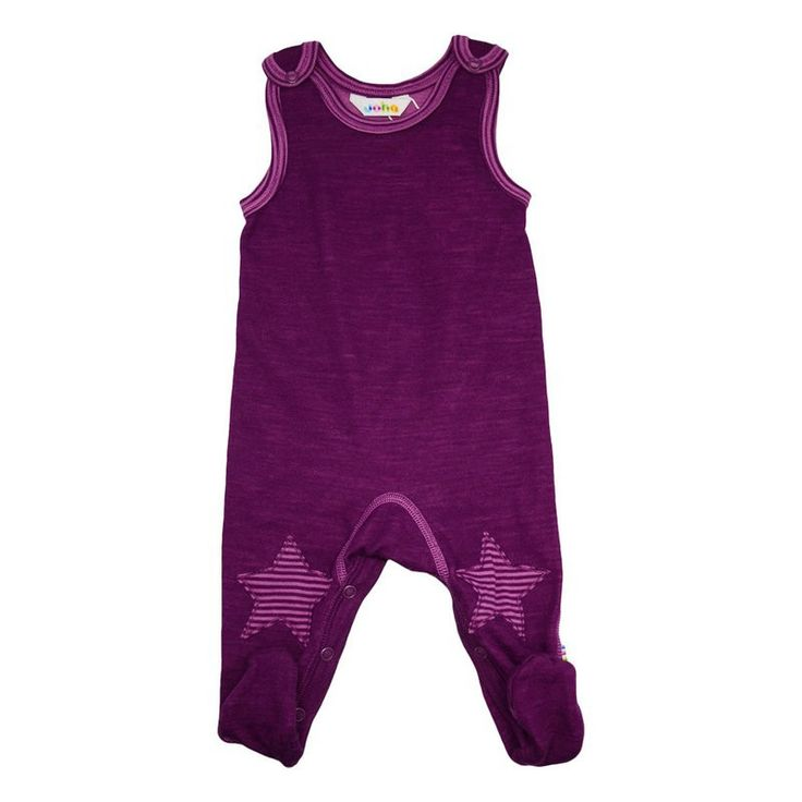 romper suit with star knee patches, berry, 100% wool, by Joha from Denmark - available at Lillahopp