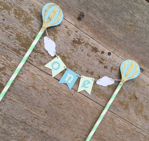 Hot air Balloon Cake Banner - Up Up & Away Party - Mint and blue Hot air Balloon - green baby blue 1st Birthday - Boy Cake Banner