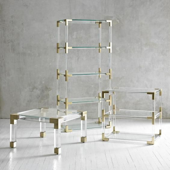 Not white - but amazing brass & lucite collection by Jonathan Adler. jacques etagere