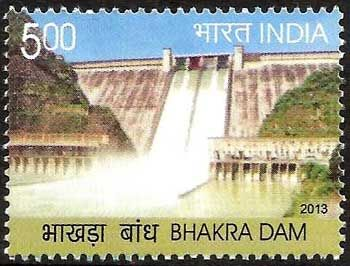"22 October 2013 A postage stamp on ""BHAKRA DAM"" Denomination - INR 5.00 #mnilay, #stamps , #indianstamps"