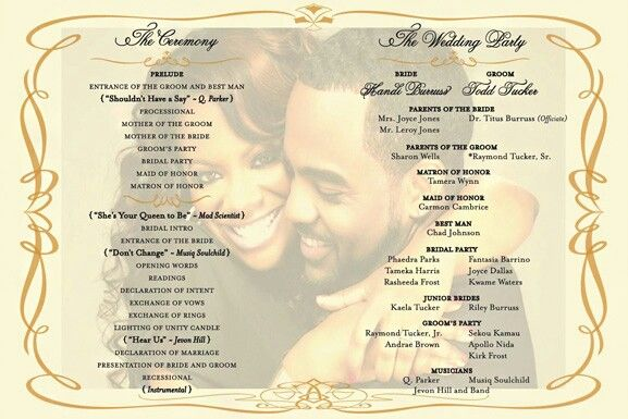 Program African American Wedding Ideas Wedding