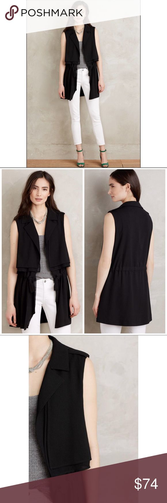 Anthropologie Black River Road Vest Open Front The perfect layering piece!   Drapey, open front vest with a cinched waist you can tie. Perfect wear to work piece and easily dresses up casual day/ evening outfits.   👚Reviews indicate it runs large (I've tried it myself. I typically wear a large or XL, depending on the top, and it fits me well!)    Excellent used condition. You might mistake it for new! Anthropologie Jackets & Coats Vests