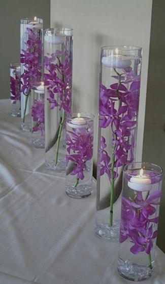 purple orchid wedding deco