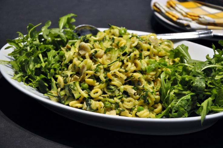 lemon pea + pasta salad