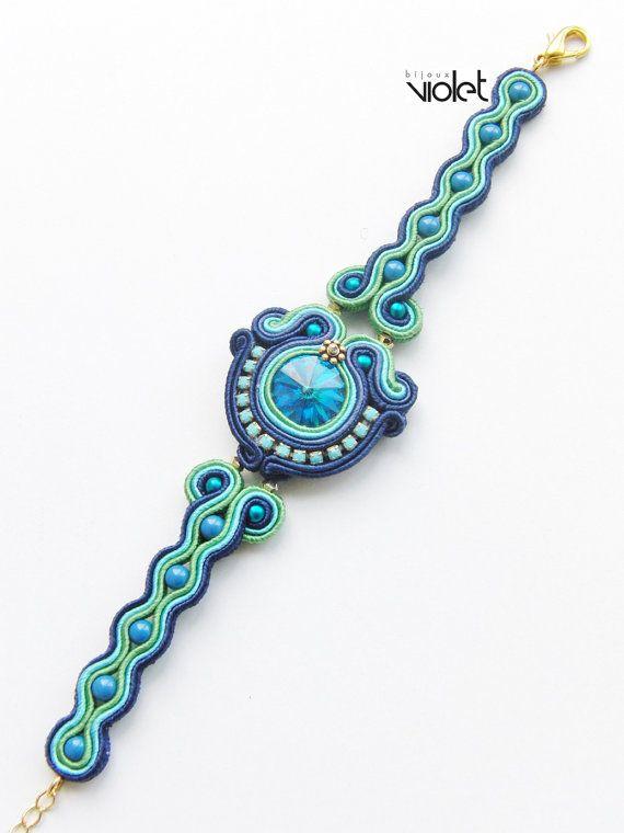 Soutache bracelet Blue lagoon by Violetbijoux on Etsy
