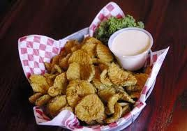 FRIED PICKLES Texas Roadhouse Copycat Recipe  Pickles: peanut or vegetable oil, for frying 2 cups all-purpose flour 1 teaspoon salt 1 teaspoon pepper 1 teaspoon sugar 1/4 teaspoon cayenne pepper 2 cups pickle chips  Sauce:  1/4 cup mayonnaise 1 tablespoon drained horseradish 2 teaspoons ketchup 1/4 teaspoon Cajun seasoning