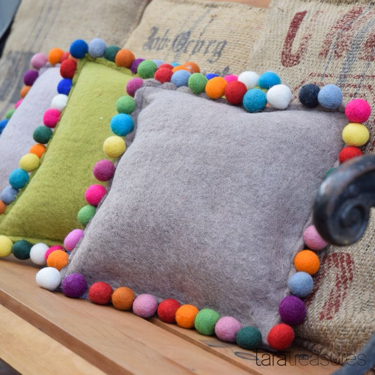 Delicious cushion covers with Pom Pom trims. #cushion #taratreasures